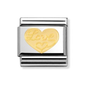 Steel and 18ct Gold Love Heart Classic Charm