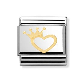 Steel and 18ct Gold Heart and Crown Classic Charm