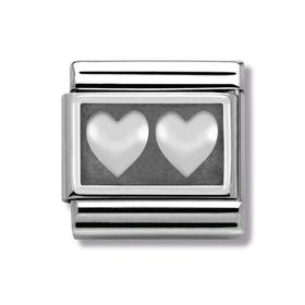 Steel and Oxidised Silver Double Heart Classic Charm