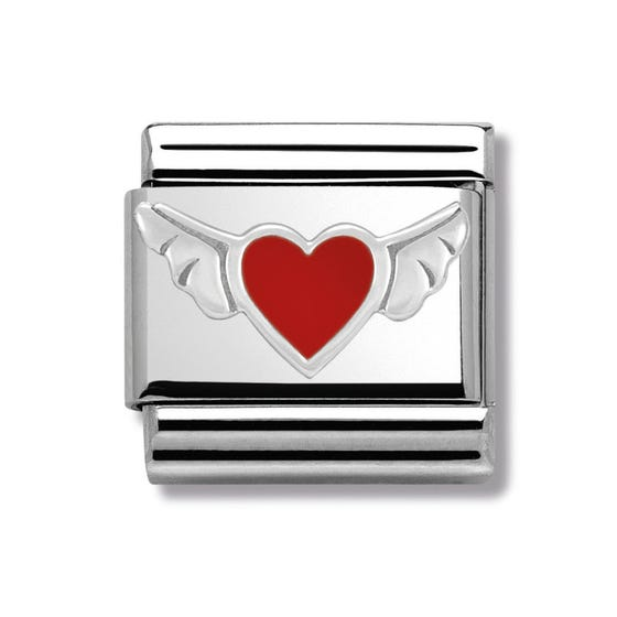 Silver and Red Enamel Winged Heart Classic Charm