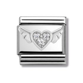 Silver & CZ Winged Heart Classic Charm
