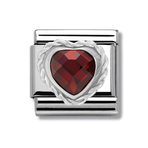 Silver & Red CZ Twisted Heart Classic Charm