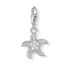 Silver Crystal Starfish Charm