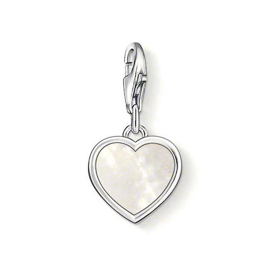 Silver Mother of Pearl Heart Charm