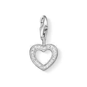 Silver Crystal Open Heart Charm