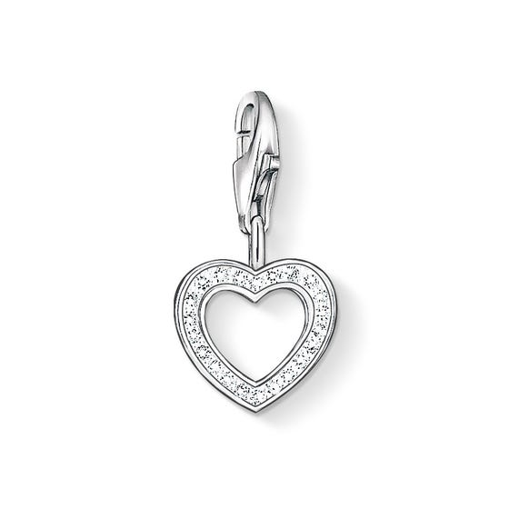 Silver Crystal Open Heart Charm