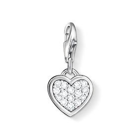 Silver Crystal Heart Charm