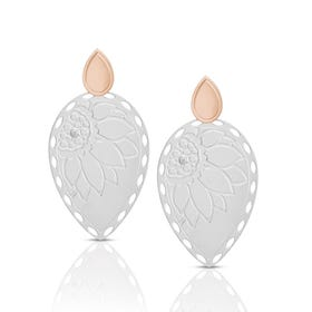 Demetra Steel & Rose Gold Leaf Drop Earrings