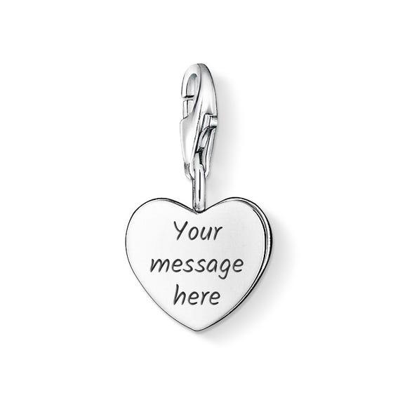 Engravable Silver Heart Charm