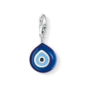 Silver Blue Enamel Turkish Eye Charm