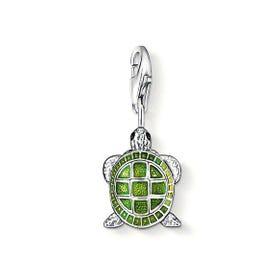 Silver Green Enamel Turtle Charm