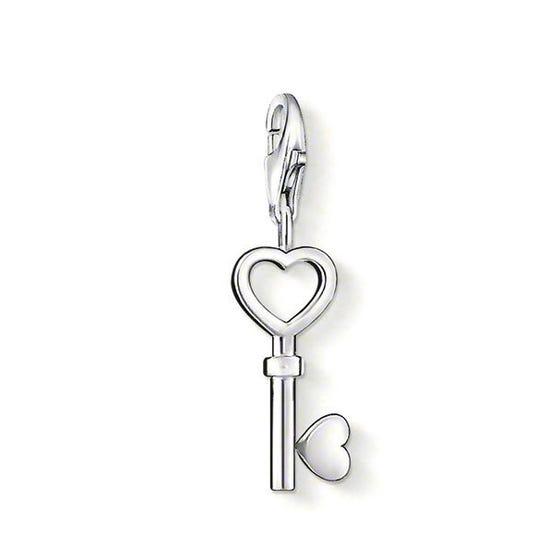 Silver Heart Key Charm