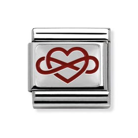 Steel, Silver & Red Enamel Infinite Love Classic Charm
