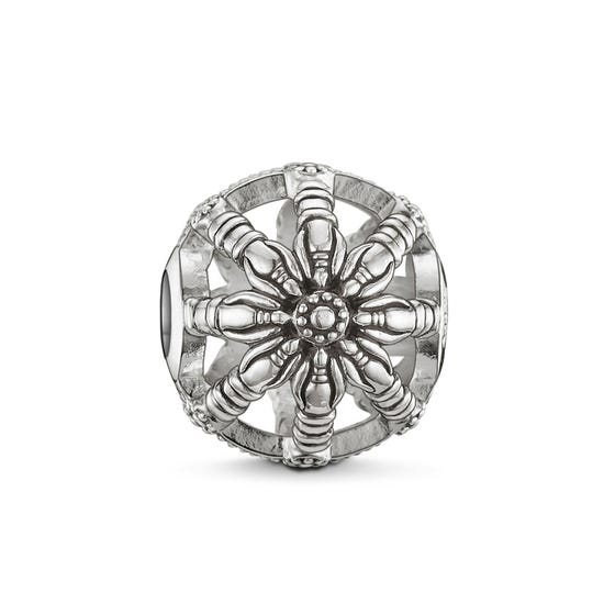 Silver Wheel of Karma Bead