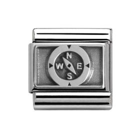 Steel & Oxidised Silver Compass Classic Charm