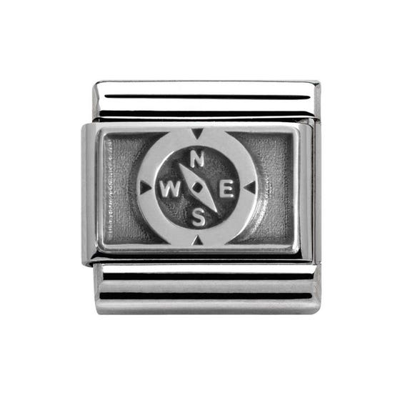 Classic Oxidised Silver Compass Charm