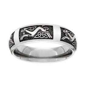 Titanium Celtic Dog Engraved 7mm Ring