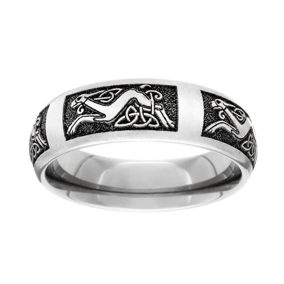 Titanium Celtic Dog Engraved 7mm Ring