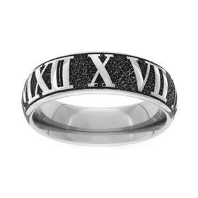 Titanium Roman Numerals Engraved 7mm Ring