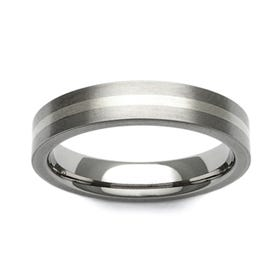 Titanium and 9ct White Gold Stripe 7mm Ring