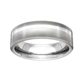 Titanium Brushed and Off Centre Stripe 7mm Ring