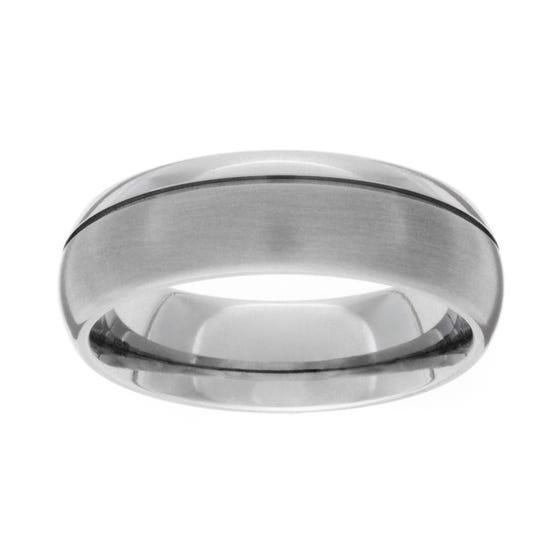 Titanium Brushed and Polished 7mm Ring
