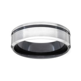 Zirconium Anodised Offset Black Groove 7mm Ring