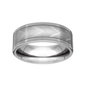 Titanium Brushed Chevron 7mm Ring