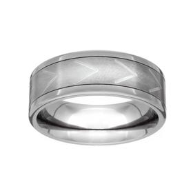Titanium Brushed Chevron 7mm Ring