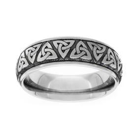 Titanium Brushed Celtic Trinity Knot 7mm Ring