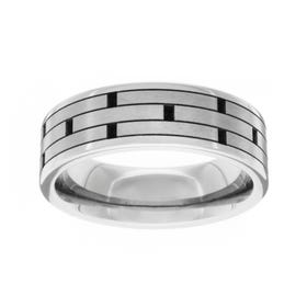 Titanium Polished Brick Design 7mm Ring
