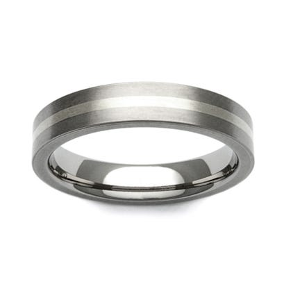 Titanium and 9ct White Gold Stripe 6mm Ring