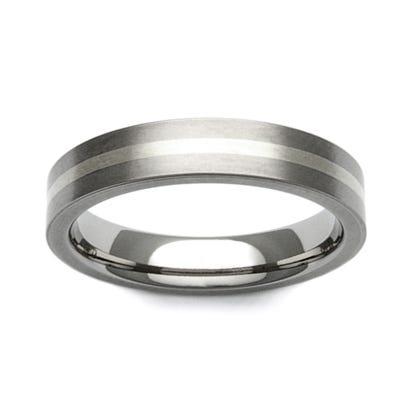 Titanium and 9ct White Gold Stripe 6mm Ring