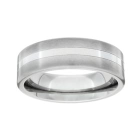 Titanium Polished and Central Stripe 6mm Ring