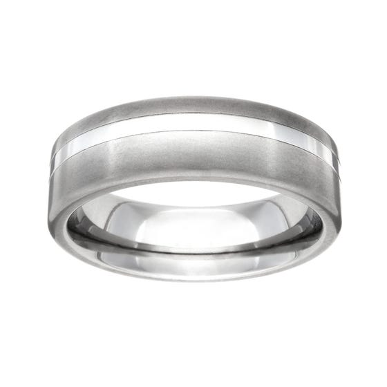 Titanium Brushed and Off Centre Stripe 6mm Ring