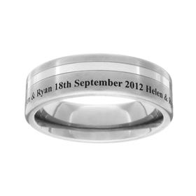 Titanium Brushed and Off Centre Stripe Engraved 6mm Ring