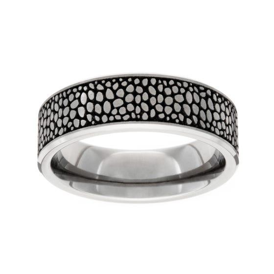Titanium Brushed Stingray 6mm Ring