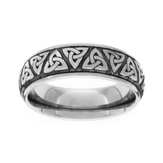 Titanium Brushed Celtic Trinity Knot 5mm Ring