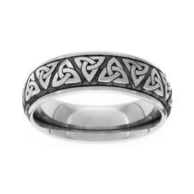Titanium Brushed Celtic Trinity Knot 6mm Ring