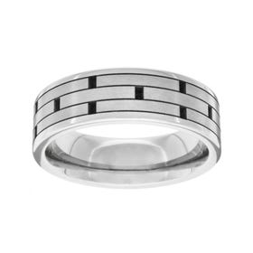 Titanium Polished Brick Design 6mm Ring