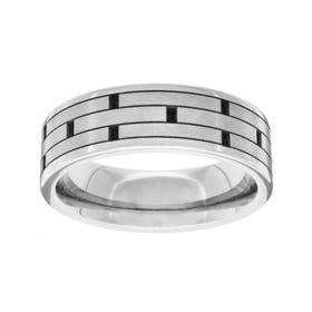 Titanium Polished Brick Design 6mm Ring