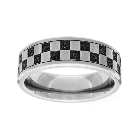 Titanium Brushed Checkers 6mm Ring