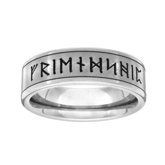 Titanium Brushed Runes 6mm Ring