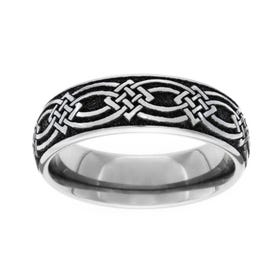Titanium Celtic Knot Engraved 6mm Ring