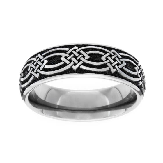 Titanium Celtic Knot Engraved 6mm Ring