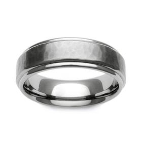 Titanium Brushed Hammered Recessed Edge 6mm Ring