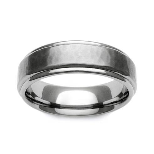 Titanium Brushed Hammered Recessed Edge 6mm Ring
