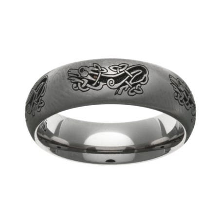 Titanium Laser Engraved Celtic Dog 10mm Ring