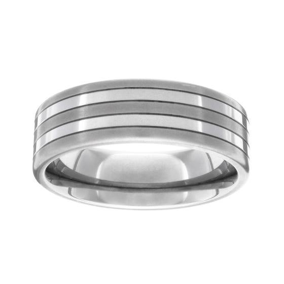 Titanium Brushed and Polished 6mm Stripe Ring