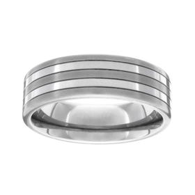 Titanium Brushed and Polished 7mm Stripe Ring
